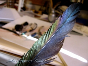 Black Iridescent Feather